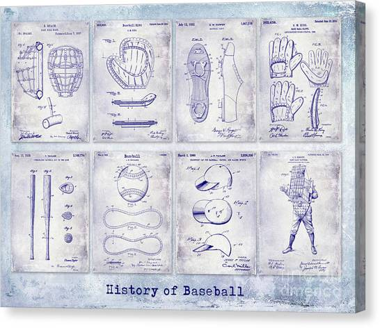 Orioles Canvas Print - Baseball Patent History Blueprint by Jon Neidert