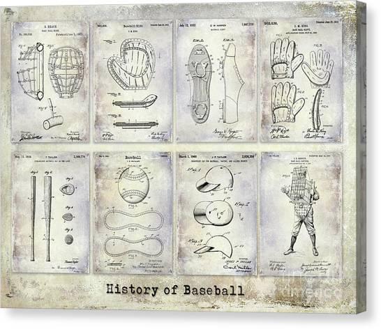 Baseball Players Canvas Print - Baseball Patent History by Jon Neidert