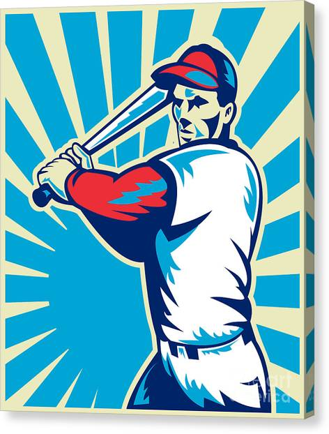 Baseball Canvas Print - Baseball Player Batting Retro by Aloysius Patrimonio