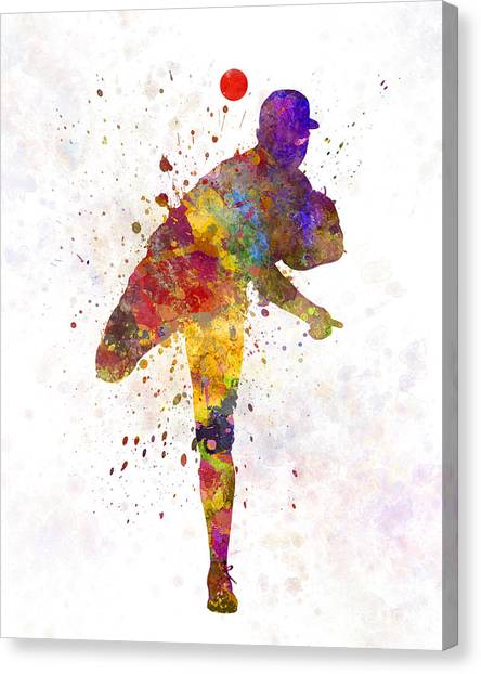 Baseball Players Canvas Print - Baseball Player Throwing A Ball by Pablo Romero