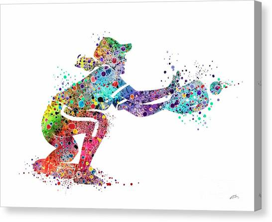 Softball Canvas Print - Baseball Softball Catcher 2 Sports Art Print by Svetla Tancheva