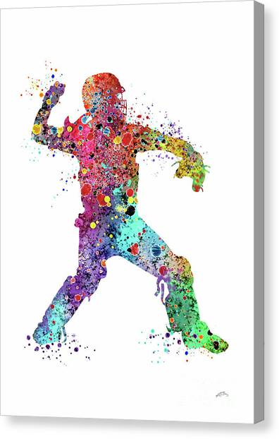 Softball Canvas Print - Baseball Softball Catcher 3 Watercolor Print by Svetla Tancheva