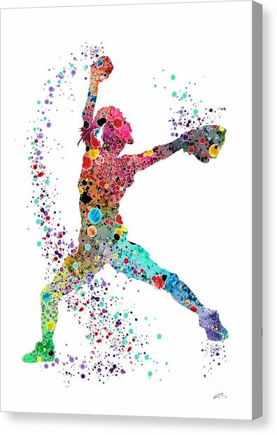 Softball Canvas Print - Baseball Softball Pitcher Watercolor Print by Svetla Tancheva