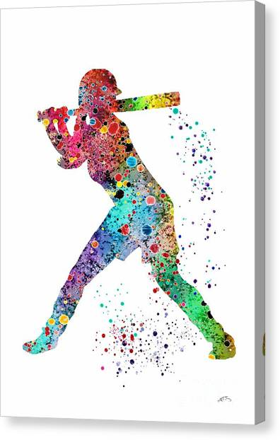Softball Canvas Print - Baseball Softball Player by Svetla Tancheva