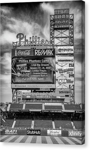 Philadelphia Phillies Canvas Print - Baseball Time In Philly - Bw by Stephen Stookey