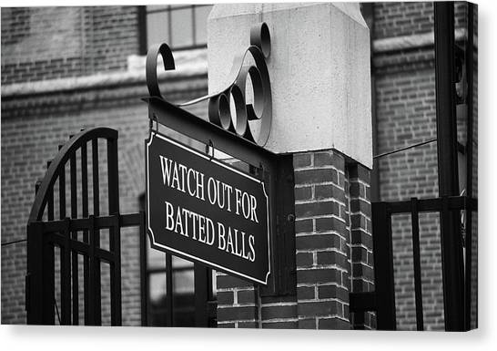 Baseball Warning Bw Canvas Print