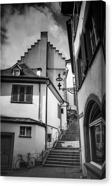 Streetlights Canvas Print - Basel Old Town In Black And White  by Carol Japp