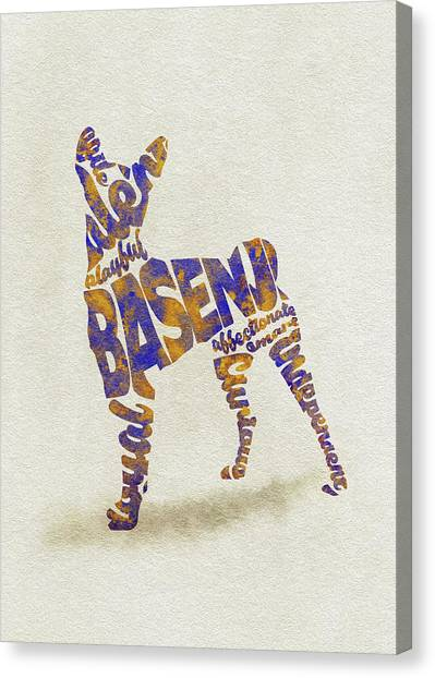 Watercolor Pet Portraits Canvas Print - Basenji Dog Watercolor Painting / Typographic Art by Inspirowl Design