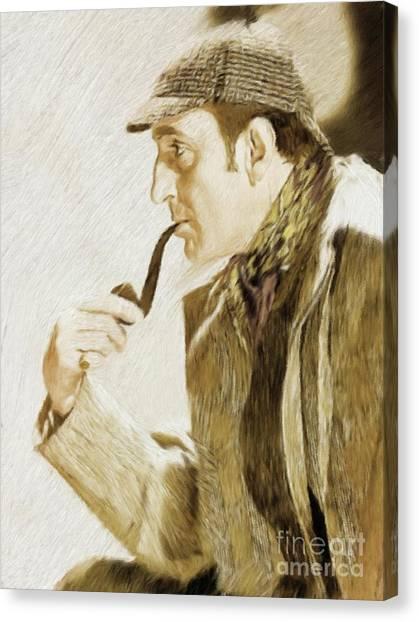 Stardom Canvas Print - Basil Rathbone As Sherlock Holmes by Mary Bassett