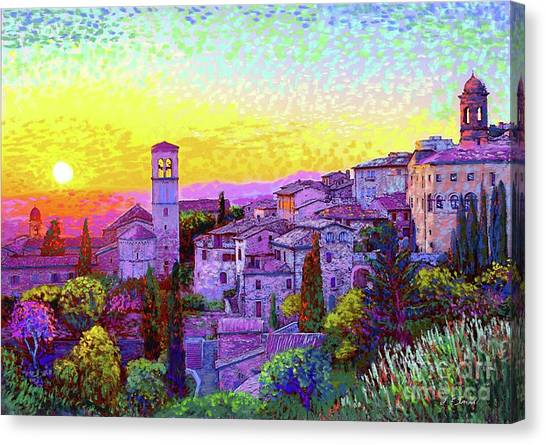 Cypress Canvas Print - Basilica Of St. Francis Of Assisi by Jane Small