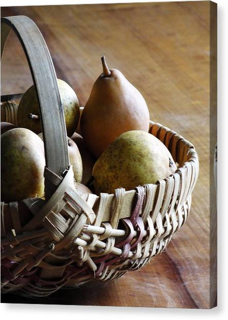 Basket And Pears Canvas Print
