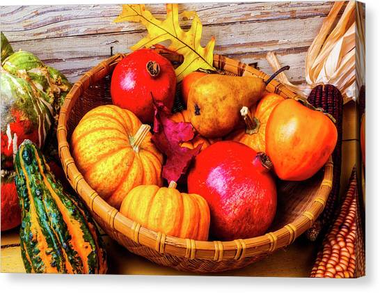 Indian Corn Canvas Print - Basket Full Of Autumn by Garry Gay