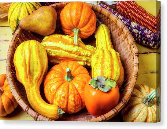 Indian Corn Canvas Print - Basket Of Autumn Gourds And Fruits by Garry Gay