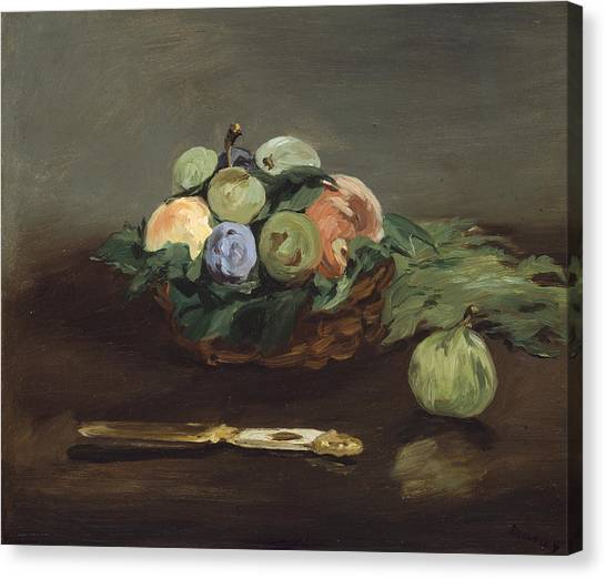 Fruit Baskets Canvas Print - Basket Of Fruit by Edouard Manet