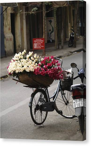 Basket Of Roses Canvas Print by Lee Stickels
