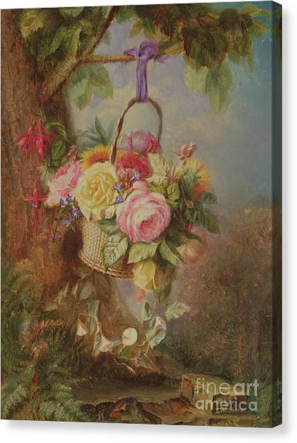 Easter Baskets Canvas Print - Basket Of Roses With Fuschia, 19th Century by Edward Charles Williams