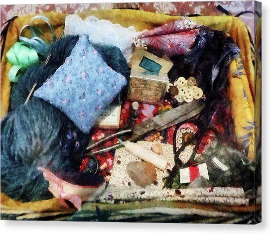 Sissors Canvas Print - Basket Of Sewing Supplies by Susan Savad
