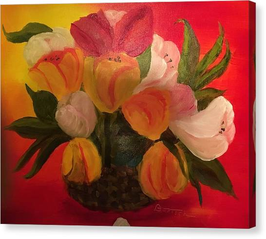 Basket Of Tulips Canvas Print