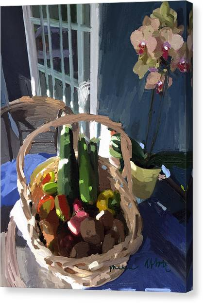 Basket Of Veggies And Orchid Canvas Print