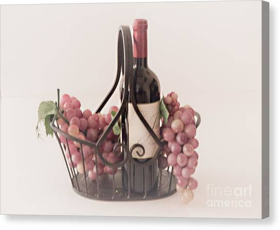 Basket Of Wine And Grapes Canvas Print