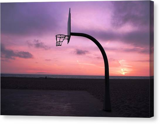 Basketball Court At Sunset Canvas Print