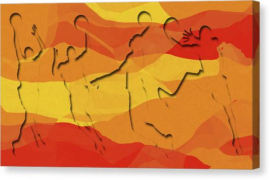 Basketball Canvas Print - Basketball Players Abstract by David G Paul