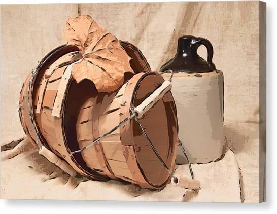 Crocks Canvas Print - Baskets With Crock I by Tom Mc Nemar
