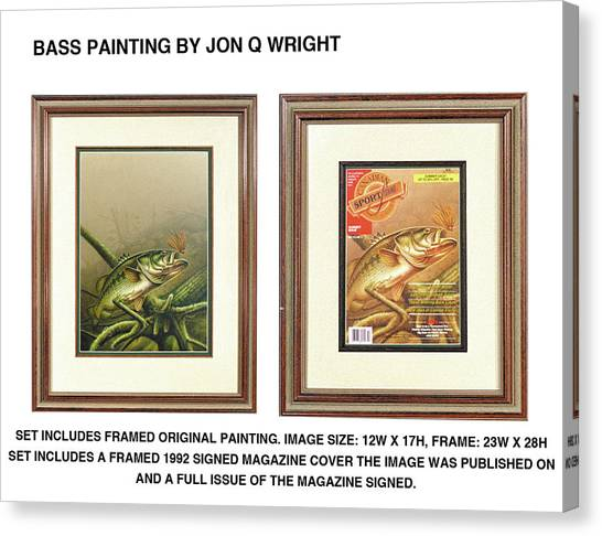 Largemouth Bass Canvas Print - Bass And Log by JQ Licensing