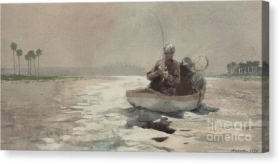 Bass Fishing Canvas Print - Bass Fishing  Florida, 1890 by Winslow Homer