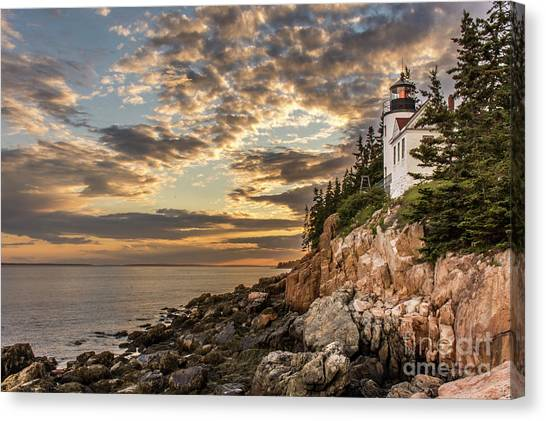 Bass Harbor Head Lighthouse Sunset Canvas Print
