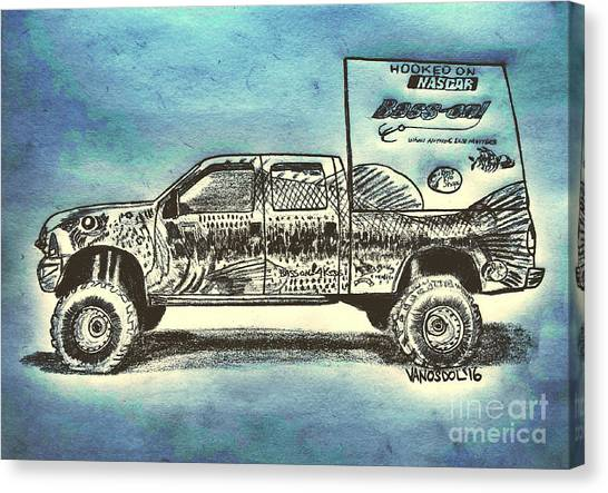 Tony Stewart Canvas Print - Basszilla Monster Truck - Abstract Background by Scott D Van Osdol