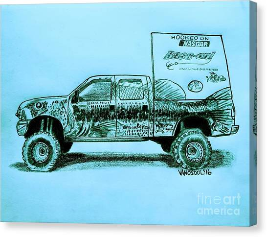 Tony Stewart Canvas Print - Basszilla Monster Truck - Blue Background by Scott D Van Osdol