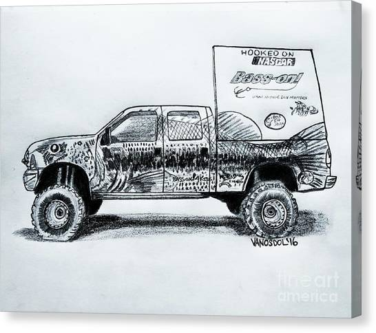 Tony Stewart Canvas Print - Basszilla Monster Truck - Graphite Pencil by Scott D Van Osdol