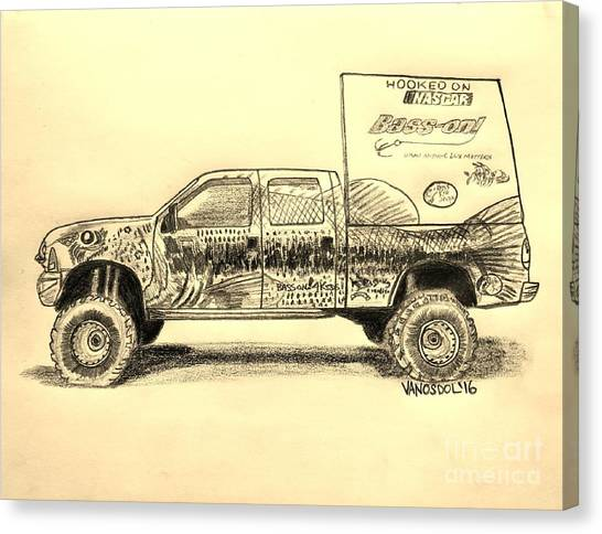Tony Stewart Canvas Print - Basszilla Monster Truck - Sepia by Scott D Van Osdol
