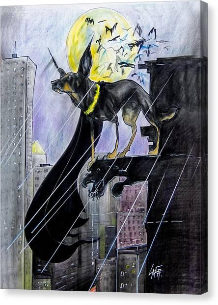 Bat-dog Caricature  Canvas Print