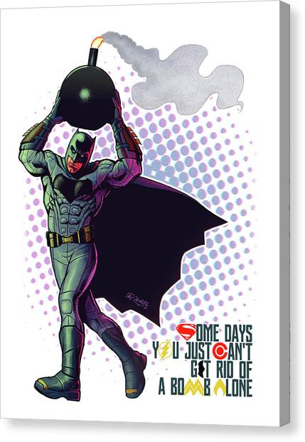 Ben Affleck Canvas Print - Batfleck And The Bomb 2 by Khaled Alsabouni