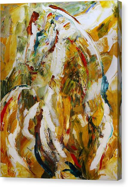 Abstract Horse Canvas Print - Bathed In Gold by Laurie Pace