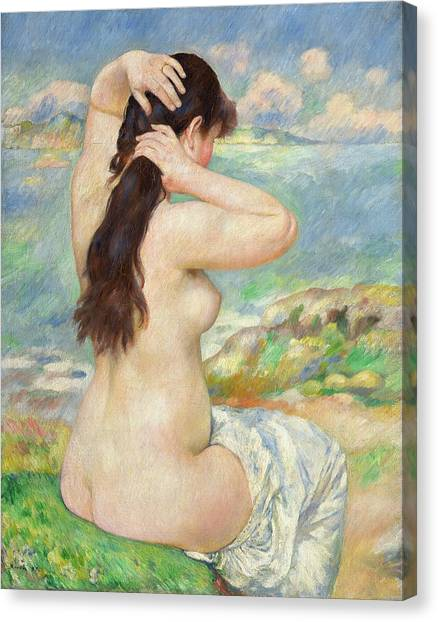 Sexuality Canvas Print - Bather Arranging Her Hair by Pierre Auguste Renoir