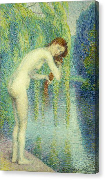 Pointillism Canvas Print - Bather Washing Her Hair by Hippolyte Petitjean