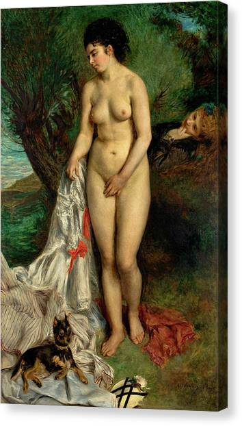 Griffons Canvas Print - Bather With A Griffon Dog by Pierre-Auguste Renoir