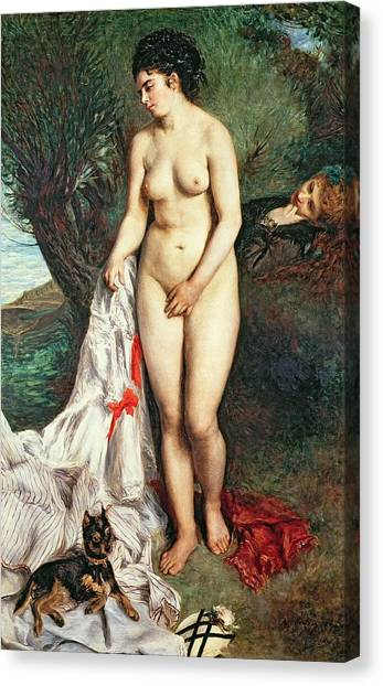 Griffons Canvas Print - Bather With A Griffon Dog by Pierrre Auguste Renoir