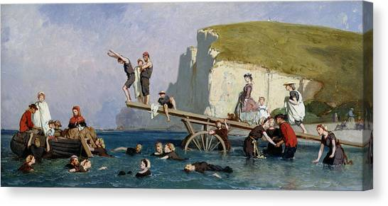 Etretat Canvas Print - Bathing At Etretat by Eugene Modeste Edmond Lepoittevin