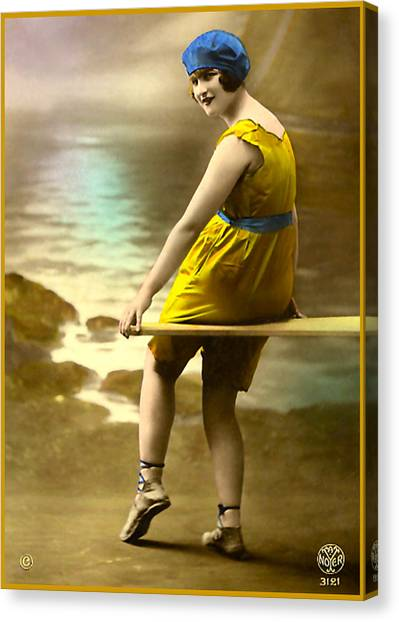 Bathing Beauty In Yellow  Bathing Suit Canvas Print