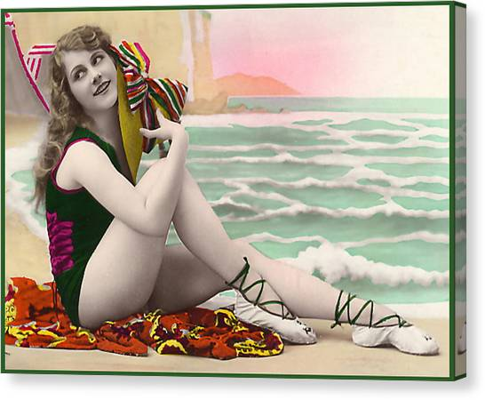 Bathing Beauty On The Shore Bathing Suit Canvas Print