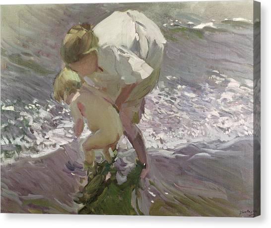 Nude Mom Canvas Print - Bathing On The Beach by Joaquin Sorolla y Bastida