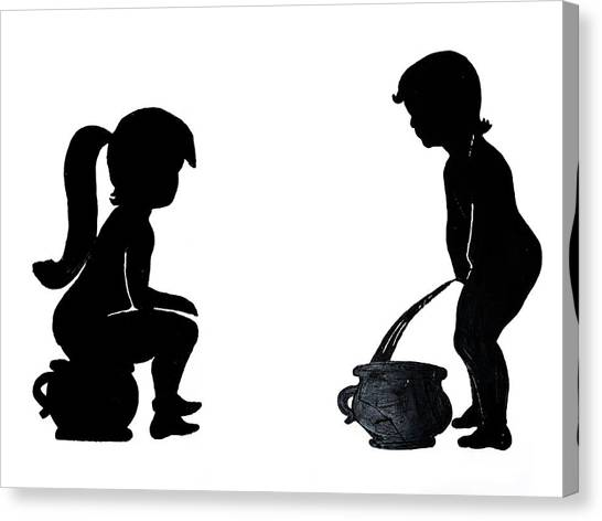 Bathroom Silhouettes Canvas Print