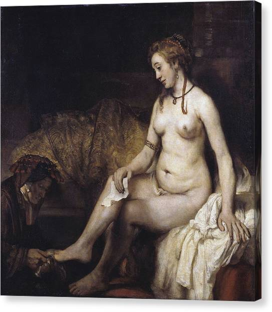 Vintage Female Nude Canvas Print - Bathsheba With David S Letter by  Rembrandt