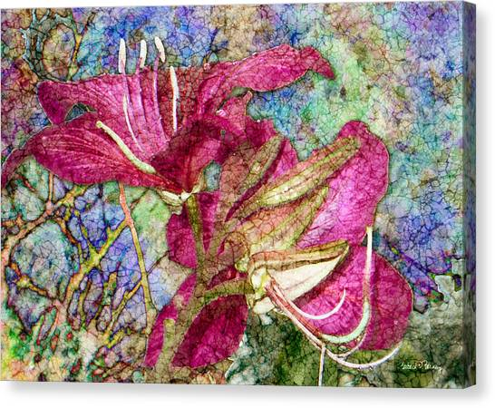 Batik Lilies Canvas Print
