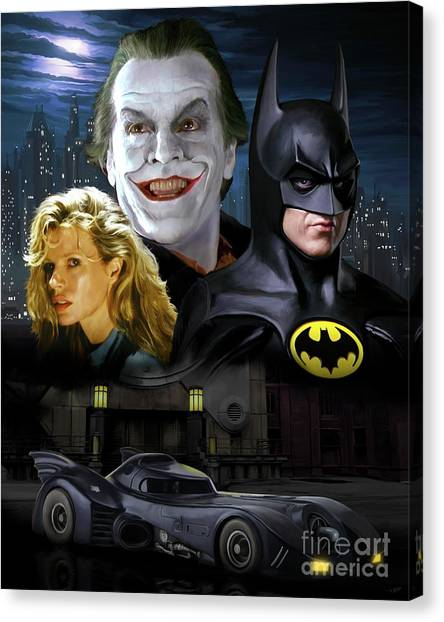 Jack Nicholson Canvas Print - Batman 1989 by Paul Tagliamonte