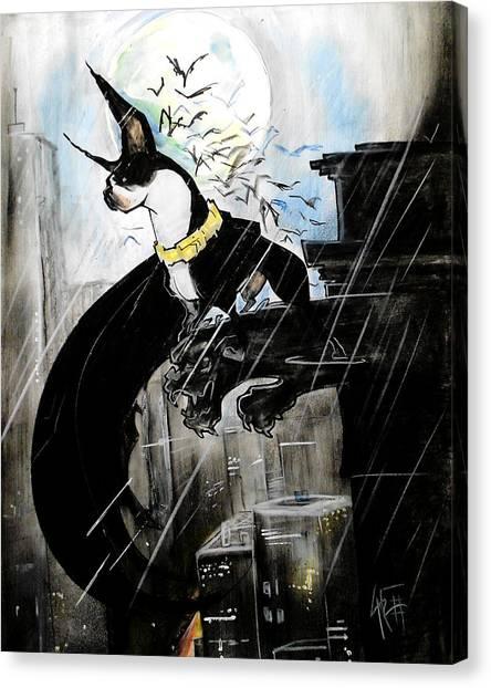 Batman Boston Terrier Caricature Art Print Canvas Print